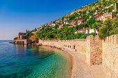 Landscape Of Ancient Shipyard Near Of Kizil Kule Tower In Alanya Peninsula, Antalya District, Turkey poster