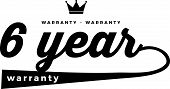 6 Years Black Warranty Icon Stamp Guarantee Vintage poster