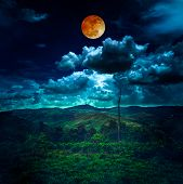 Beautiful Mountain Landscape Covered With Green Tree Forest, Amazing Nature. Night Sky With Red Moon poster