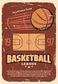 Basketball League Retro Poster With Sport Field And Heavy Ball. Vintage Brochure For Basketball Cham poster
