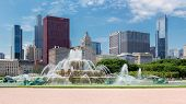Chicago Skyline Panorama With Skyscrapers And Buckingham Fountain At Summer Sunny Day, Chicago, Illi poster
