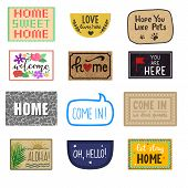 Home Mat Vector Welcome Doormat Of Front House Entrance And Doorway Matting Rug For Visitors Illustr poster