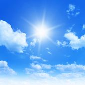 stock photo of clouds sky  - Sun in blue sky - JPG