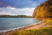 Autumn Landscape Of Lake And Colorful Trees On Shore In The Evening. Yellow And Red Leaves On Tree I poster