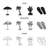 Brazil, Country, Umbrella, Beach . Brazil Country Set Collection Icons In Black, Monochrome, Outline poster