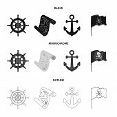 Pirate, Bandit, Rudder, Flag .pirates Set Collection Icons In Black, Monochrome, Outline Style Vecto poster