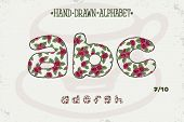 Alphabet Vintage Design. Red Roses Shabby Chic Style. Romantic Style. Font Vector Typography, Englis poster