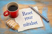 reset your minset advice - handwriting on a napkin with a cup of coffee and cookie poster