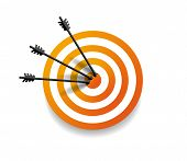 Target With Three Arrow In Center. Arrows Hit The Target. Business Concept. Vector Illustration Eps1 poster