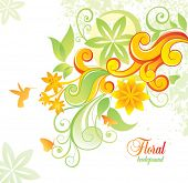 stock photo of colibri  - Floral background with colibri and butterfly - JPG