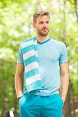 Need A Little Break. Man Athlete With Towel After Running Outdoor, Nature Background. Athletic Man T poster
