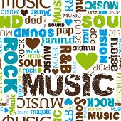 picture of heart sounds  - i love music seamless pattern background in vector - JPG