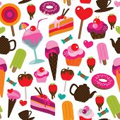 stock photo of tea party  - Seamless party candy ice cream and cake background pattern in vector - JPG
