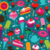 Seamless cute cup cake candy and tea pot background pattern in vector