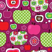 Seamless cute retro apple kids pattern in vector