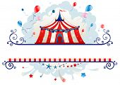 stock photo of tent  - Frame with circus tent with space for text - JPG