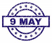 9 May Stamp Seal Watermark With Distress Texture. Designed With Rectangle, Circles And Stars. Blue V poster