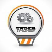 Постер, плакат: Под значком вектор развития с gears на белом фоне