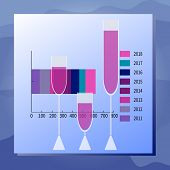 Vector Illustration Drink Consumption. Graph, Full Wineglasses. Sea Waves Background. Modern Flat St poster