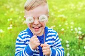 Happy Kid Laughing.close Up Portrait Joy Child.little Cute Boy Playful Smiling Holding Dandelions On poster