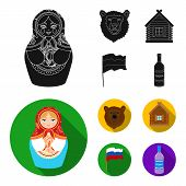 Russia, Country, Nation, Matryoshka .russia Country Set Collection Icons In Black, Flat Style Vector poster
