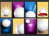 Volleyball Poster Set Vector. Empty Template For Design. Promotion. Volleyball Ball. Vertical Modern poster