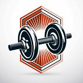 Dumbbell Vector Illustration Isolated On White Composed With Disc Weight. Sport Equipment For Weight poster