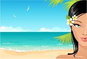 Постер, плакат: Девочка пляж
