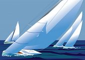 Sailing regatta, yachts with white sails catch the wind