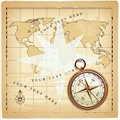 Old compass on vintage map, vector illustration