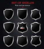 Set of vector shields in 9 different shapes