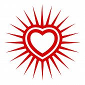 Sunshine Heart Icon. Simple Illustration Of Sunshine Heart Vector Icon For Web Design Isolated On Wh poster