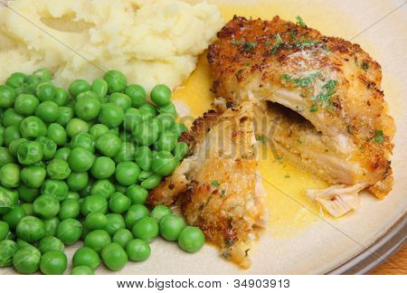 Chicken Kiev stuffed with garlic and herb butter