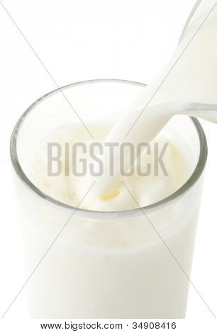 Pouring fresh white milk from jug into a glass