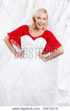 Bride admires her wedding dress, white background
