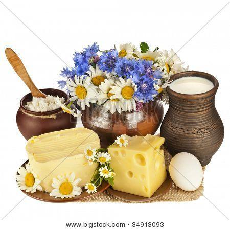 dairy milk produce, isolated on white background