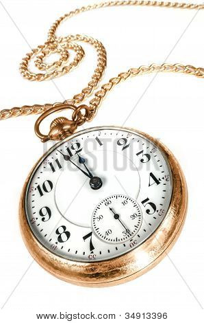 Old Pocket Watch Isolated On White Background