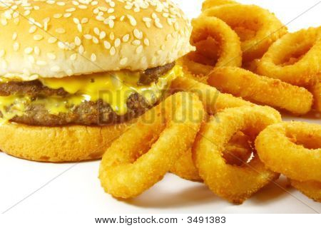 Hamburger And Onion Rings Fast Food Meal