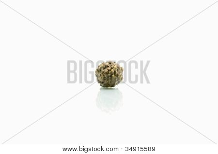 Chocolate Ball Isolate On White Background With Reflection