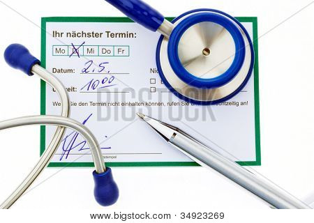 note entry for the next appointment with a doctor. doctor's appointment