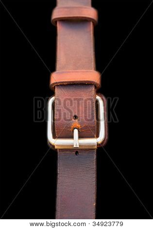 Leather belt on black