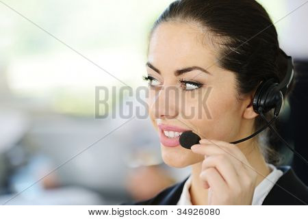 Beautiful support girl in calling center