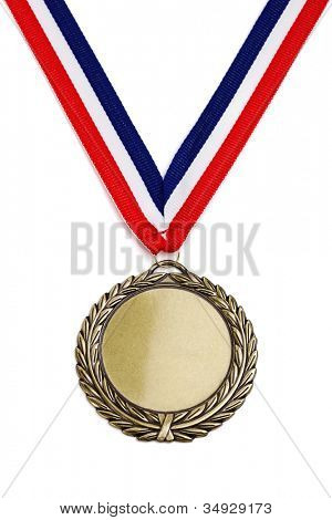 Gold medal isolated on white with blank face for text, concept for winning or success
