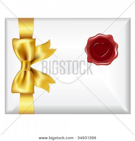 Envelope With Golden Bow And Wax Seal, Isolated On White Background