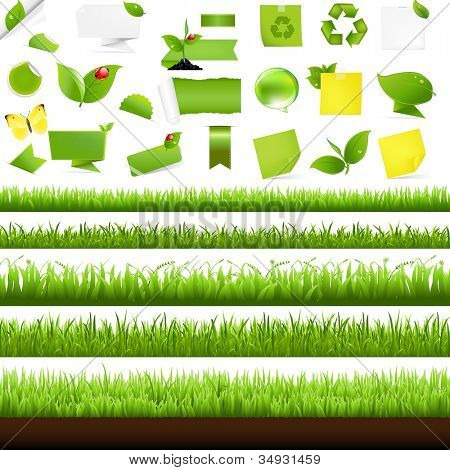 Big Nature Set With Grass Border, Isolated On White Background, Vector Illustration