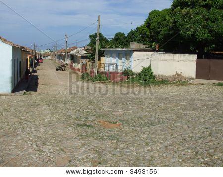 Typical Bricks Road In Trinidad City