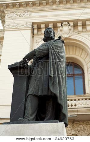 ADXenopol Statue In Front Of A.I.Cuza University - Iasi, Romania