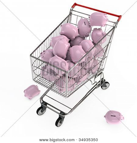 Many pink piggy banks in a 3D shopping cart