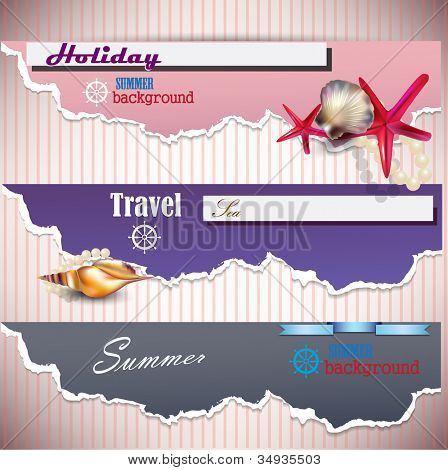 Set of Holiday banners with shells and place for text. Torn paper
