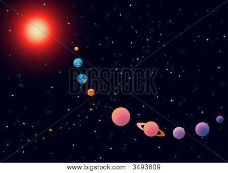 Vector Illustration Of Solar System